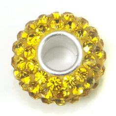 Swaroski Citrine Yellow Crystal Ball Bead Sterling Silver Charm Fits Pandora Chamilia Biagi Trollbeads European Bracelet