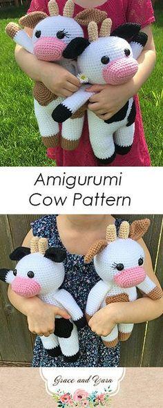 Crochet Patterns Tutorial Amigurumi Cow Pattern - A Free Crochet Tutorial Crochet Cow, Crochet Baby Toys, Cute Crochet, Baby Knitting, Knitting Toys, Learn Crochet, Crotchet, Free Knitting, Crochet Animal Patterns