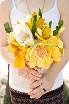 They are felt...how cool is that Custom Wedding Wildflower Felt Bouquet  by munclefredart on Etsy, $140.00