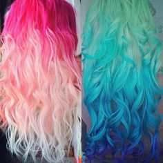 Very bright hair but beautiful ombre! Pink and Blue