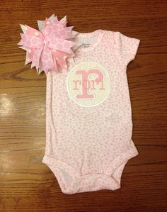 Custom Monogrammed Onesie and Matching Bow with First initial applique and name