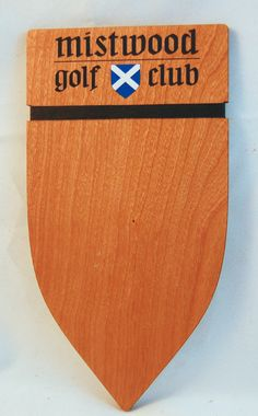 Custom Shaped check presenter for Mistwood Golf Club Cherry Restaurant, Check Presenter, Wood Invitation, Custom Rubber Stamps, Wood Ornaments, Fort Collins, Golf Clubs, Presents, Menu
