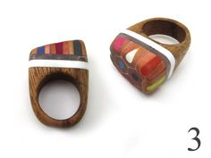 Chunky wooden Pencil Rings by OhBotherDesign on Etsy