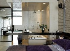 Industrial Loft designet by Diego Revollo Loft Interior Design, Loft Design, House Design, Open Bathroom Design Ideas, Open Baths, Loft Industrial, Small Studio Apartments, Simply Home, Big Design