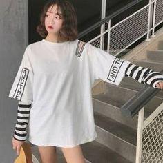 Women korean fashion oversized long sleeve t shirt hip hop punk streetwear girls fake two pieces tees off shoulder tops Harajuku Fashion, Fashion Outfits, Harajuku Style, Fashion Fashion, Mein Style, Layering Outfits, Korean Street Fashion, Long Hoodie, Streetwear Fashion
