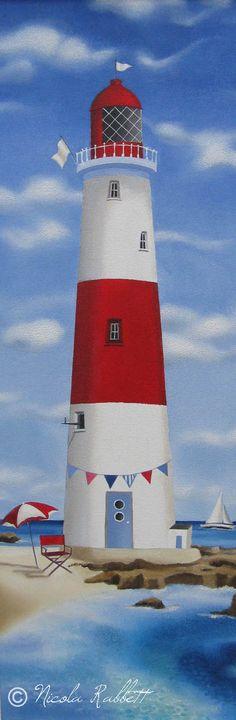 Rock Lighthouse. Framed Oil on Canvas Board. By Nicola Jane Rabbett. www.nicolajanerabbett.com
