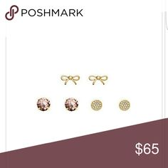 Nwt kate spade earrings set. (Studs) Rose gold. 1 round pink glitter set. 1 gold bow set  1 gold round with white crystals.  Comes with small dust cover. kate spade Jewelry Earrings