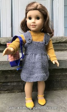 knitted doll patterns ABC Knitting Patterns - American Girl Doll Back-to-School Jumper American Girl Outfits, Ropa American Girl, American Doll Clothes, Knitted Doll Patterns, Jumper Knitting Pattern, Jumper Patterns, Knitted Dolls, Knitting Patterns, Baby Knitting