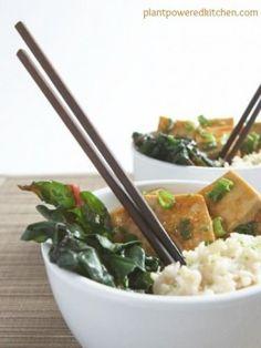 "Orange Sesame Tofu with Coconut-Lime Brown Basmati Rice (from ""eat, drink & be vegan"" by Dreena Burton)"