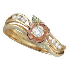 Black Hills Gold Bridal Engagement Wedding 10ct Diamond In Rosebud Ring Sz 8 Blackhillsgold