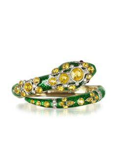 Roberto Cavalli Serpent Green & Golden Metal Bracelet w/Crystals