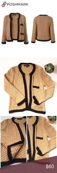 🆕 Listing! Topshop Petite knit open cardigan Stunning quality! Open front to show off that cute statement top underneath! Two pockets on left front. Black trim accents a minimalistic nude/tan coloring. Length is 22 1/2in. bust is 17 3/4in. Acrylic/cotton blend.  UK size 14, EURO size 42, US size 10. Topshop Sweaters Cardigans