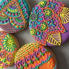 Colourful Mehndi Henna Sugar Cookies by Cookie Starts with C in Newfoundland, Canada
