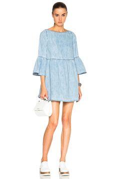 MM6 Maison Margiela Flare Denim Dress in Light Blue | FWRD