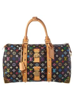 2807c71bf04 LOUIS VUITTON Louis Vuitton Black Multicolore Monogram Canvas Keepall 45 .   louisvuitton  bags  hand bags  canvas  lining