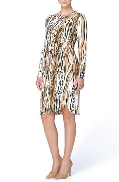 Main Image - Catherine Catherine Malandrino 'Gordon' Print Faux Wrap Jersey Dress