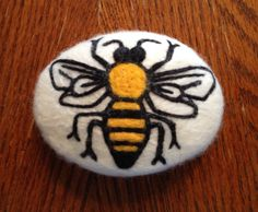 Honeybee Felted Soap Needle Felted Cold Process Merino Wool Roving Soap Bar