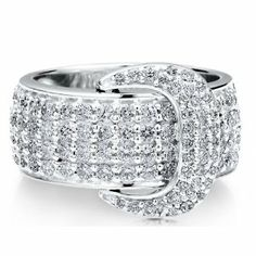 Sterling Silver 925 Cubic Zirconia CZ Buckle Bold Fashion Ring - Nickel Free Mothers day Fashion Right Hand Ring Size (sterling silver rings) Right Hand Rings, Bold Fashion, Love Ring, Belt Buckles, Fashion Rings, Mother Day Gifts, Diamond Rings, Sterling Silver Jewelry, Jewelry Gifts
