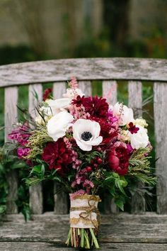 November Wedding Bouquet Bridal Bouquets Fall Flowers Arrangements, anemones, ranunculus / http://www.deerpearlflowers.com/autumn-fall-wedding-ideas/