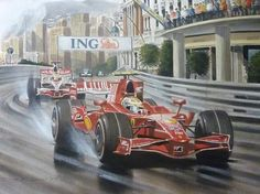 Felipe Massa drives down to Casino Square driving for Ferrari at the 2008 Monaco…