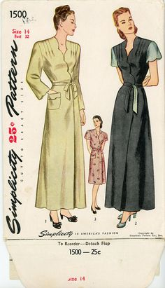1940s Housecoat Pattern Simplicity 1500 Bust 32 by CynicalGirl