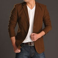 $51.30 - Mens Suits Spring New Leisure Handsome Pure Color Slim Single Breasted Mens Blazer Suits Discount Online Shopping