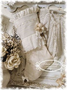 1900s Style Antique Lace Christmas Stocking - Gorgeous work from Rebecca Nelson~❥