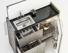 Minimalistic Multipurpose Mini Kitchen on Behance Micro Kitchen, Compact Kitchen, Tiny Spaces, Small Apartments, Van Interior, Home Interior Design, Kombi Home, Camper Kitchen, Van Living