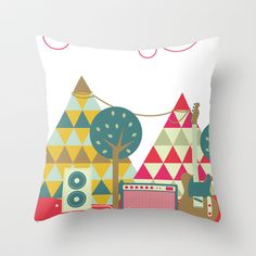 triangle mountain Throw Pillow by bethany ng - $20.00