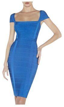Herve Leger Deep Ocean Blue Kristen Bandage Dress $696