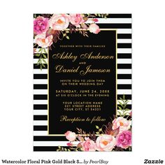 Pink Floral Gold Striped Graduation Party Invite Watercolor Pink Blush Gold Floral Graduation Party Invitation Card with Black & White Stripes ❤ Congrats to the grad - invite / greetings / party invitations and supplies. Black Wedding Invitations, Graduation Party Invitations, Gold Invitations, Elegant Invitations, Wedding Invitation Cards, Bridal Shower Invitations, Wedding Cards, Pink Graduation Party, College Graduation