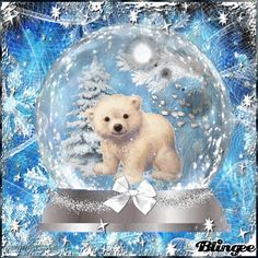 polar bear snowglobe Picture #126598063 | Blingee.com