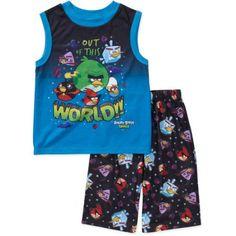 Rovio - Boys' Angry Bird 2-Piece Muscle Tee and Shorts Pajama Set, Blue