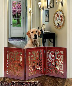 Scroll Wood Adjustable Pet Gate