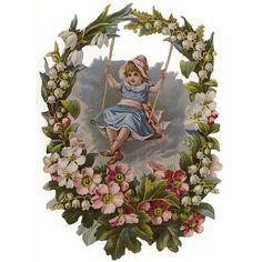 Girl Swinging in Flower Wreath Large Scrap ~ Germany