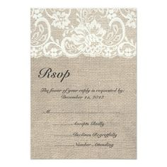 Ivory Lace and Burlap Wedding RSVP Card Announcements