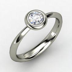 Round Diamond Platinum Ring   Bezel Ring   Gemvara