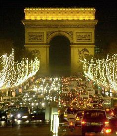 christmas lights at night in paris