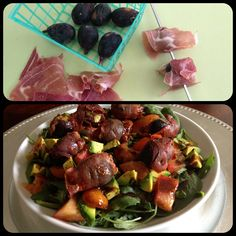 Salad with Prosciutto wrapped figs. Wrap figs with the Pros. and grill or BBQ, until crispy. Greens of choice (i used spinach & arugula) Homemade balsamic dressing, avocado & tomatoes. #Paleo #Salad #CleanEating #Lunch #Dinner