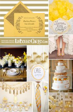 Invitaciones de Boda, Invitaciones para bodas, boda dorada y amarilla, boda…