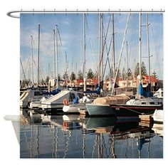 Yachts and reflections in water,Aus Shower Curtain on CafePress.com