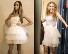 #DIY Carrie Bradshaw #Halloween Costume...liner, such as a vintage slip (you can easily recycle and use a vintage slip from any thrift store; 2$ is the most they should cost) 3-6 yards of white tulle depending on the fullness you want white satin ribbon (2 yards) light pink tank (Old Navy has perfect ones for $5) sewing machine (needle and thread)