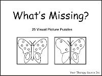 Complete the Picture: Materials: picture, scissors, glue stick, markers or crayons Purpose: Encourage fine motor and visual perceptual sk. Visual Perceptual Activities, Pediatric Occupational Therapy, Pediatric Ot, Therapy Activities, Therapy Ideas, Visual Memory, Vision Therapy, Picture Puzzles, Learning Through Play
