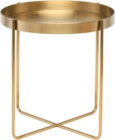 The Gaultier side table projects a refined sophistication highlighted by an emphasis on purity of form. Finely crafted from lightweight gold brushed stainless steel, the Gaultier radiates lightness and grace. Chair Side Table, Metal Side Table, End Tables, Occasional Tables, Gold Side Tables, Coffee Tables, Gold Table, Gold Furniture, Table Furniture