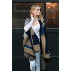 """Navy Color Block Poncho Wrap Cardigan OS So pretty!  Navy color block poncho wrap cardigan.  Measures 72"""" x 25"""".  100% Acrylic.  One size fits most XS-XL.  No Trades, Price Firm unless Bundled.  BUNDLE 3 OR MORE ITEMS FOR 15 % OFF.  BRAND NEW!! Boutique Sweaters Shrugs & Ponchos"""