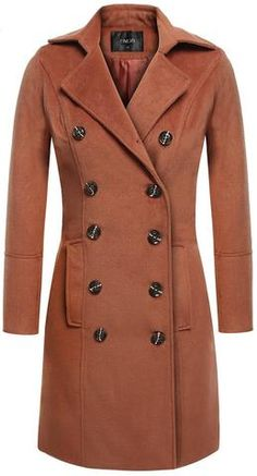 Double-Breasted Wool Blend Coat in Brown