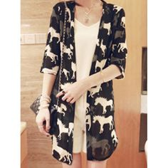 Wholesale Stylish Horse Print Hlaf Sleeve Women's Cardigan Only $4.17 Drop Shipping | TrendsGal.com