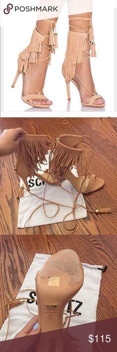 Schutz fringe heels only worn once Blush/nude color. Only worn once. Lace up fringe heels size 7! Comes with dust bag! Proenza Schouler Shoes Heels