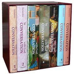 In Conversation With God - Complete 7 Vol. Set.  Pocket-sized daily devotions, prayers, meditations, and Scripture for every day of the year, marked out by liturgical season, and follows the Mass reading themes.  A great gift idea! $129.65  Also available individually.