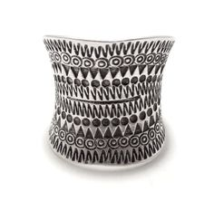Sterling Silver Wide Wrap Ring Ethnic Geometric by SilverShapes
